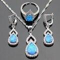Austrália Azul Pedras de Opala Branco Cor Prata Colar Pingente Brincos Conjuntos de Jóias Para As Mulheres Aberto Anéis de Caixa de Presente