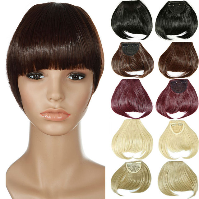 Us 3 42 30 Off Snoilite Women Synthetic Clip In Blunt Bangs Fringe Front On Hair Extensions Brown Black Blonde Dark Auburn One Piece Hair Piece In