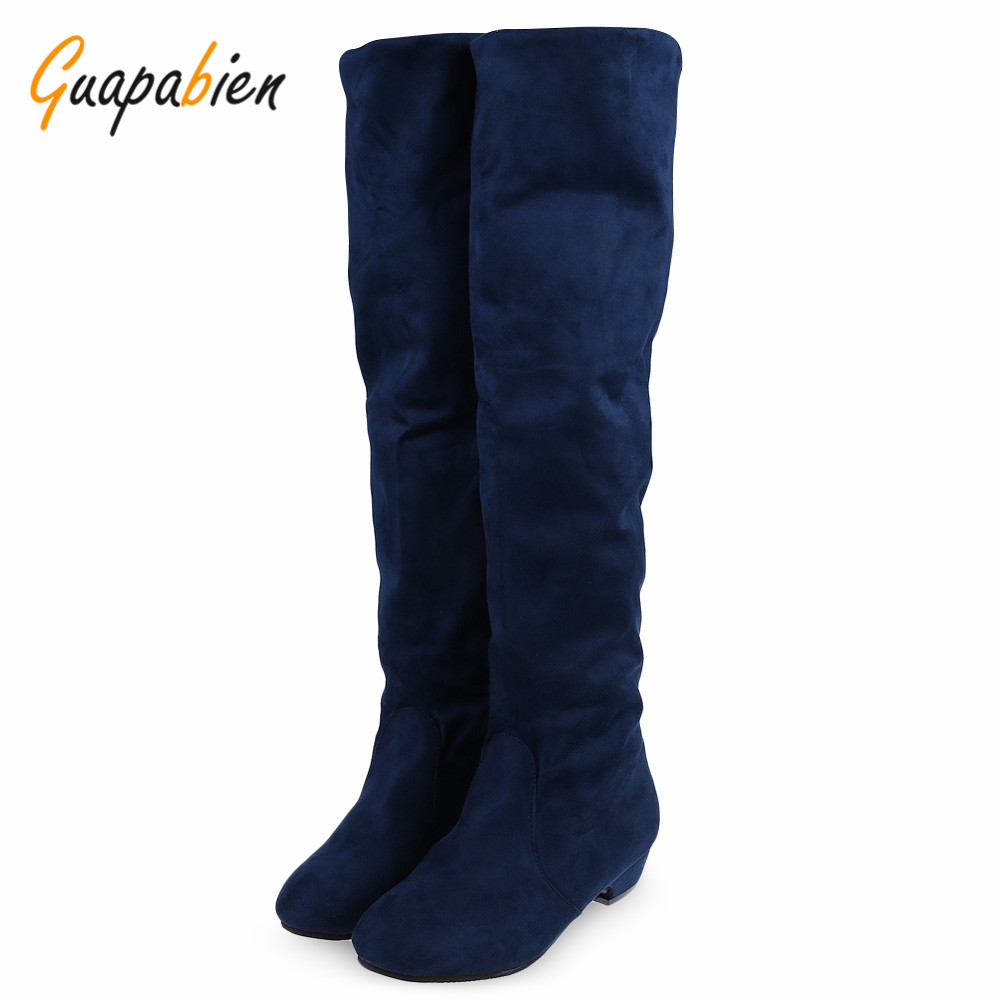 Guapabien Retro Causal Women Knee-High Boots Pure Color Round Toe Ladies Suede Knee Flat Heel Boots Spring Fall Lady Long Boots