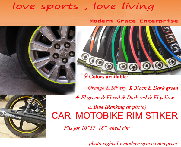 "9 Colors,18 Stripes 14""-18"" Wheel Rim Decal Sticker for Car & Motorcycle,Best Car Styling,Strong blister pack,Free Shipping"