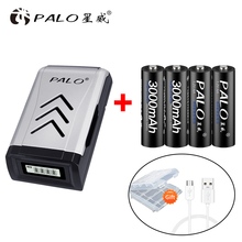 цена на 4pcs AA batteries ni-mh 1.2v rechargeable aa batteria with lcd charger for aa charger for aaa aa battery sets for toys
