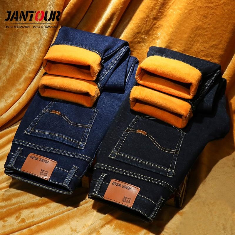 jantour Warm Jeans Men winter High Quality Famous Brand velvet Fleece Straight Jean trousers flocking warm men's pants male 40