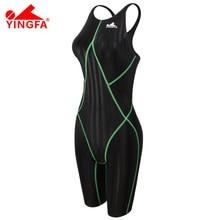 Yingfa FINA approved  one piece competition knee length waterproof chlorine resistant women's swimwear sharkskin swimsuit