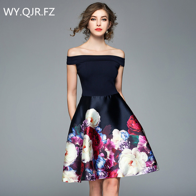 2444656325903 US $27.76 9% OFF|HLXD176#Boat Neck design and colour short Bridesmaid  Dresses wedding party prom dress 2018 new plus size wholesale clothing-in  ...