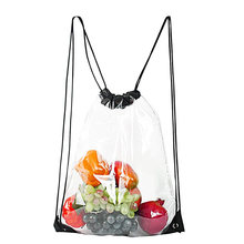 Clear Drawstring Backpack,Waterproof Drawstring Bag for Women and Men School Sport Gym(China)