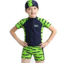 2-10Y Boys Swimsuit Green Crocodile Three Pieces Bathing Suit Top+Pants+Hat Pool Swimming Clothing Cartoon Toddler Swimwear