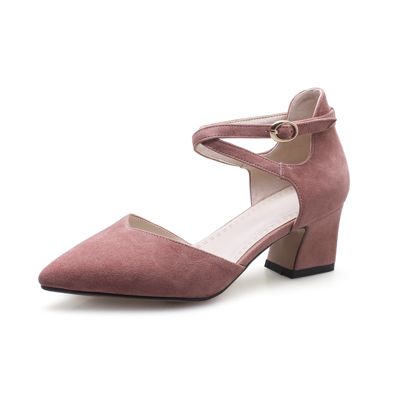 Danse Femmes Bride Pointu Cheville Talons La Bout Chaussures Enmayer De black Hauts Apricot pink Partie Dames Cr206 Sexy Flock Pompes À 5CtFx