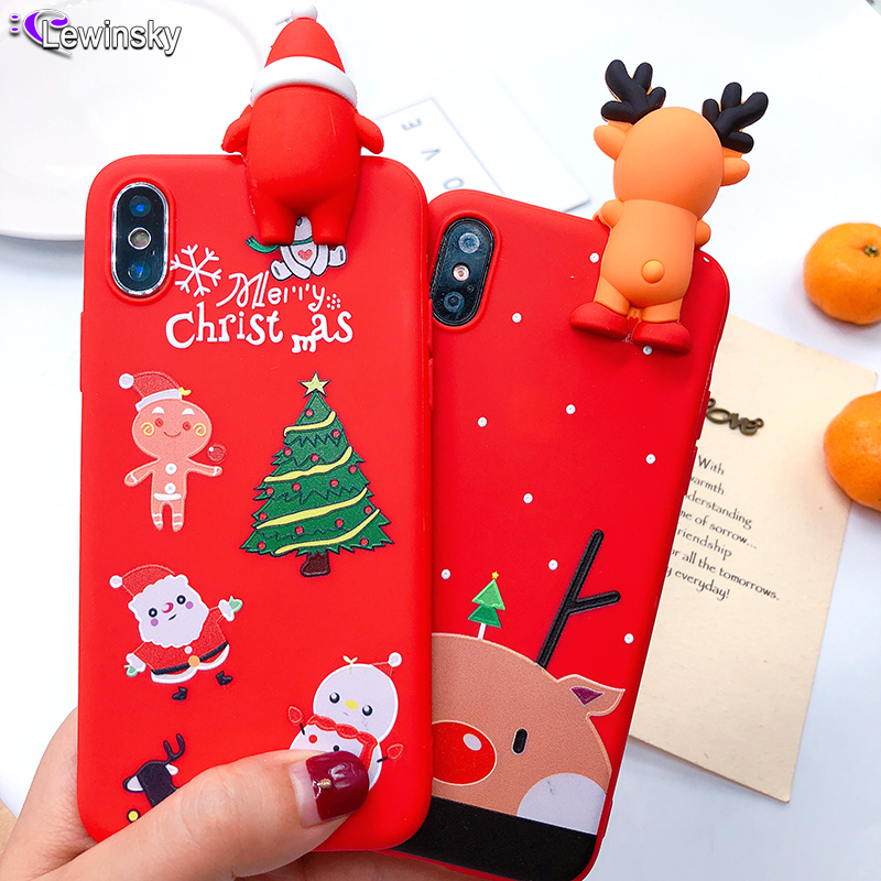 A6 plus 2018 Santa Claus Phone Case For Samsung Galaxy S9 S9 plus Cartoon Christmas Deer Snowman tree Soft TPU Back Cover Case image