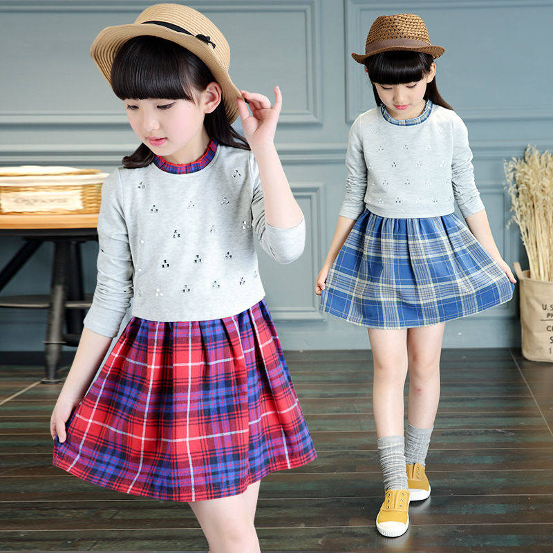 Casual Plaid Girl Dress Korean Children Clothing Child Clothes Spring Autumn 4-14Y Girls Dresses Vestidos Kids Girls School Wear spring outfits for kids