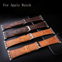 38mm 42mm Apple Watchband,Brown Oil Crazy Horse Leather Watch For Iwatch Apple Watch Strap Belt With Silver Adapter