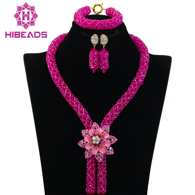 Fuchsia African Beads Jewelry Set 2017 Nigerian Wedding African Beads for Brides Party Bridal Jewelry Set Free Shipping ABK726