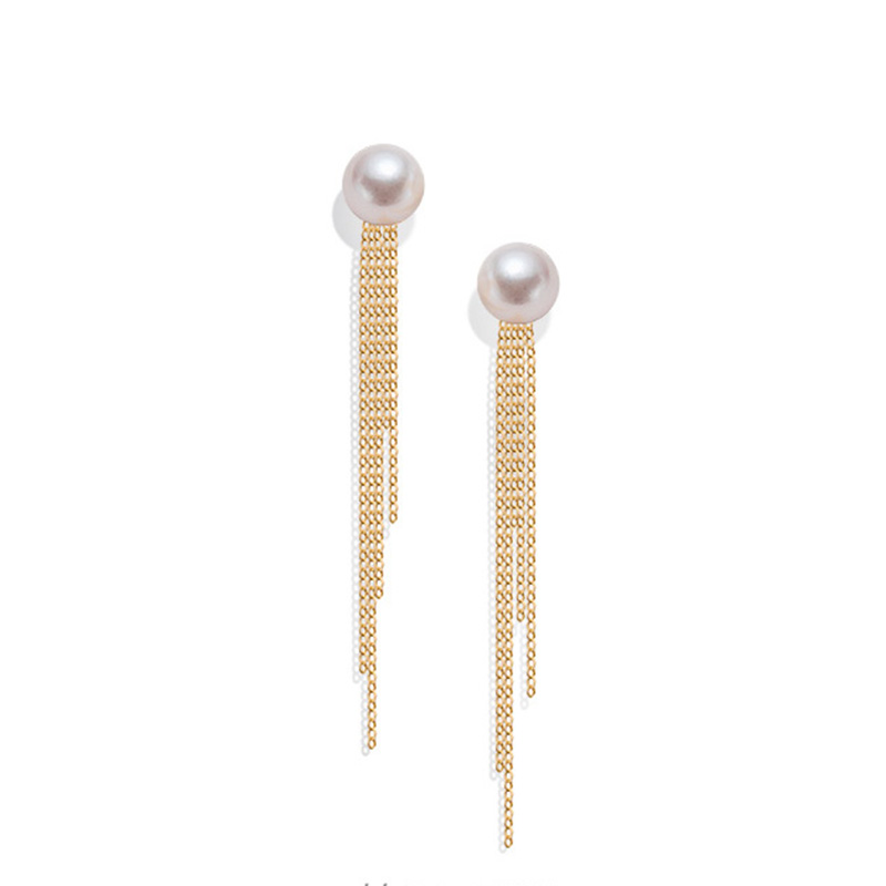 Sinya Classical 18k gold tassel earring Natural Real Round pearls stud earring in Au750 gold for Women girls Mum best gift 2018