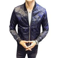 Royal Floral Jacket Patterns Blue Black 2018 Club Patty Baroque Bomber Jackets Men Jacquard Club Outfit Men Slim Fit 4XL