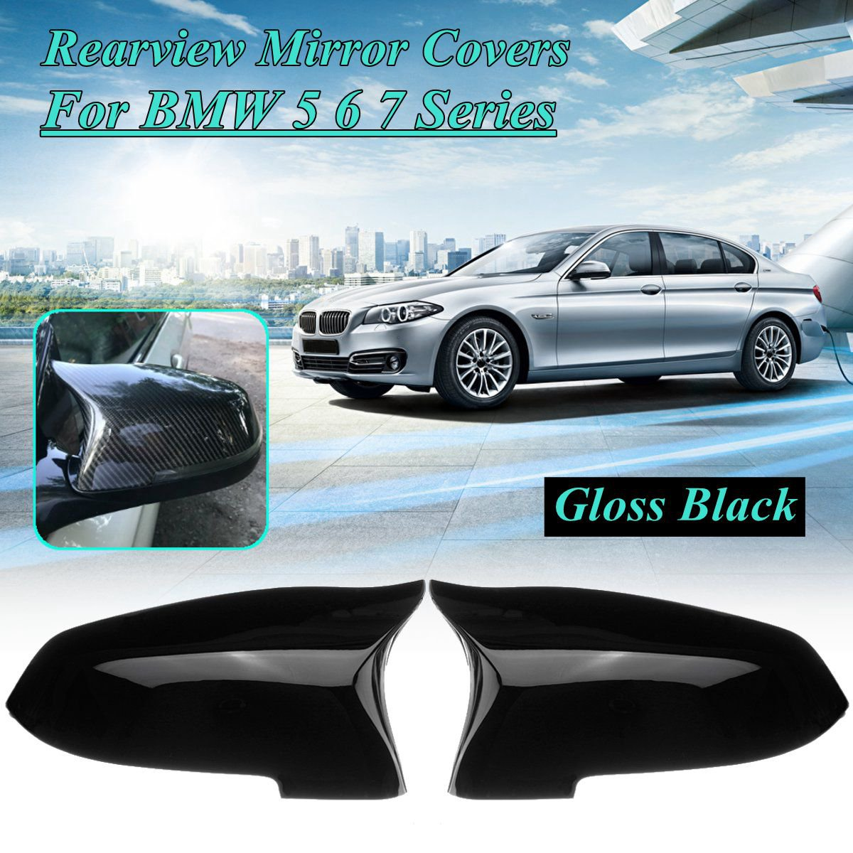 Pair Mirror Covers Left Right Side Rearview Mirror Cover Cap For <font><b>BMW</b></font> 5 6 7 Series F10 F18 <font><b>F11</b></font> F06 F07 F12 F13 F01 2014 <font><b>2015</b></font> 2016 image