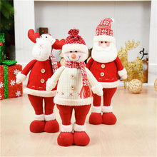 3pcs/lot Santa Claus+Snowman+Elk Doll Christmas Decoration Ornaments Stand Toys New Year Birthday Gift Decorazioni Albero Natale(China)
