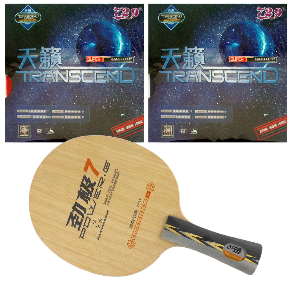 Original Pro Table Tennis Combo Racket: DHS POWER.G7 PG7 Blade with 2x RITC729 TRANSCEND CREAM Rubbers Long Shakehand FL pro table tennis pingpong combo racket ritc729 v 6 blade with 2x transcend cream rubbers shakehand long handle fl