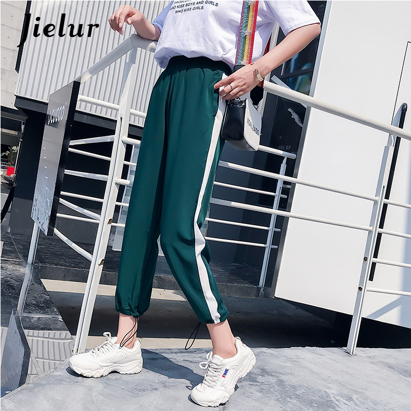Jielur Summer High Street Fashion Straight   Pants   Female Thin Loose Wide Leg   Pants   Women M-XXL Hit Color Stripe   Capris   Dropship