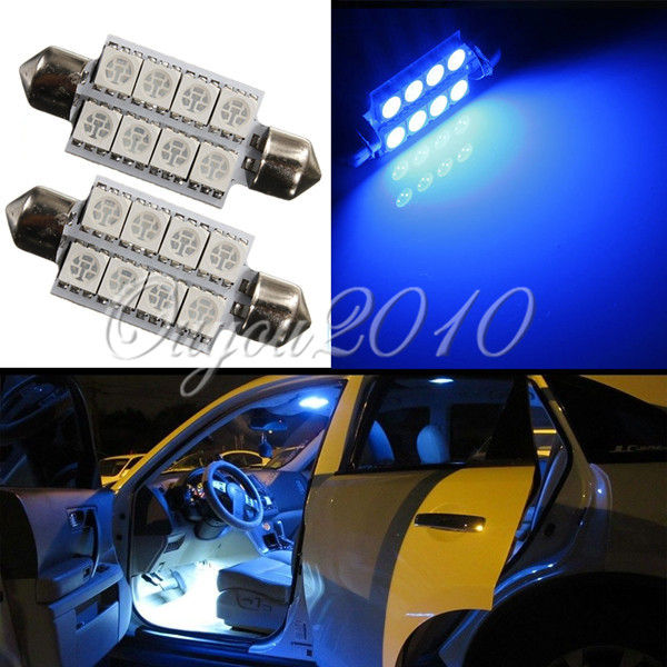 Big Promotion Ultra Blue 42MM 8 LED 5050 SMD Car Auto C5W Dome Interior Festoon Bulb Reading Map Light Door Lamp DC12V festoon 44mm 1 62w 197lm 9 smd 5050 led warm white light car reading tail door lamp 12v
