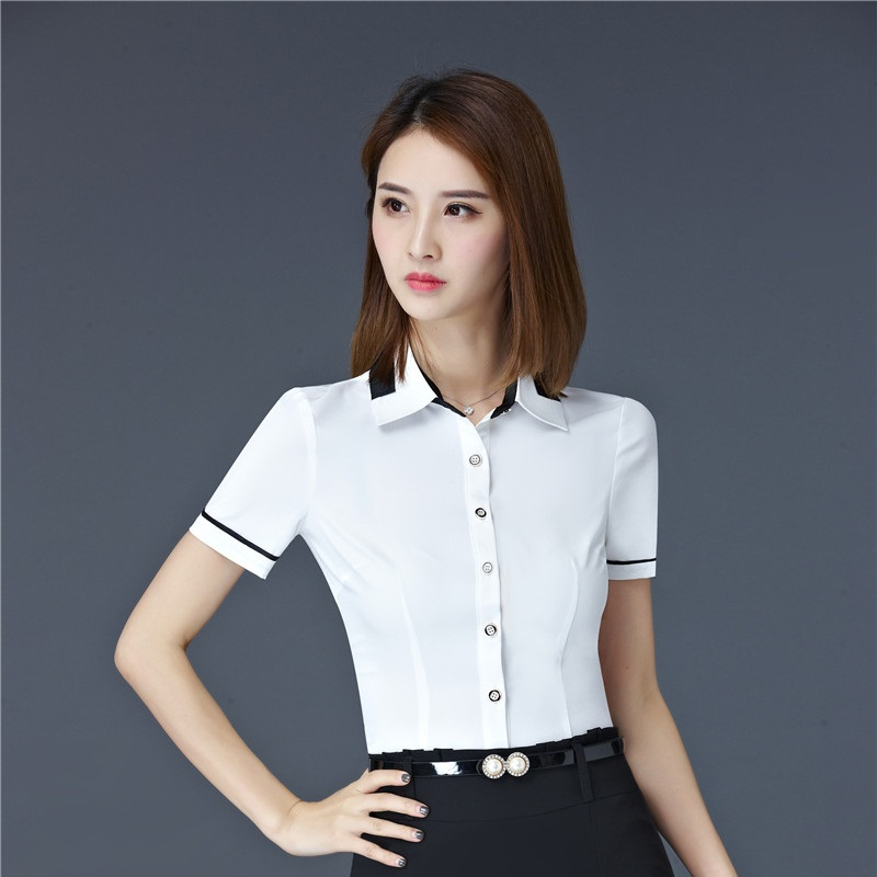 Summer Short Sleeve Formal Elegant Slim Fit Blouses Shirts Ladies Office  Work Wear Business Women Tops Beauty Salon Clothes-in Blouses   Shirts from  Women s ... 9cd5d7133