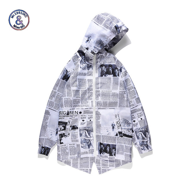 Mr.1991INC Men's Hooded Jackets 2018 Loose Windbreaker Thin Zipper Coats 3d Print Newspaper Funny Hip Hop Top Overcoat for Male