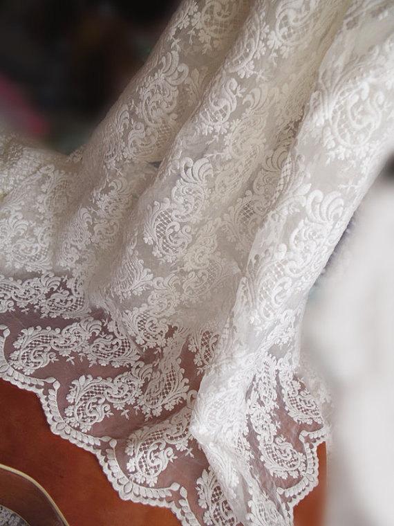 Tela de encaje blanco organza con estampado floral - Artes, artesanía y costura