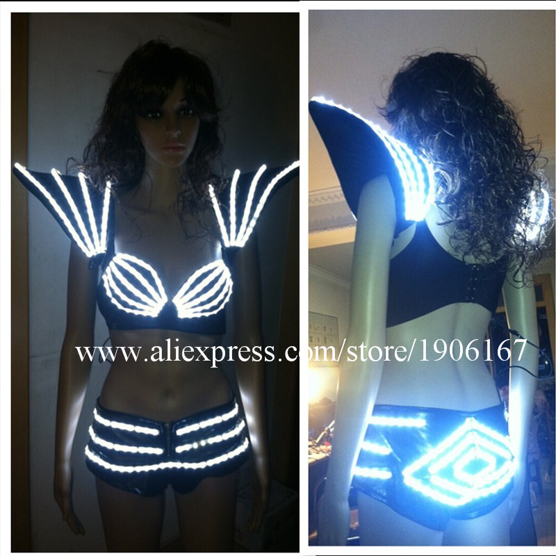 New Led Flashing Luminous Light Up Sexy Lady DS Dress Pants Bra Shoulder Suit Costume Dance