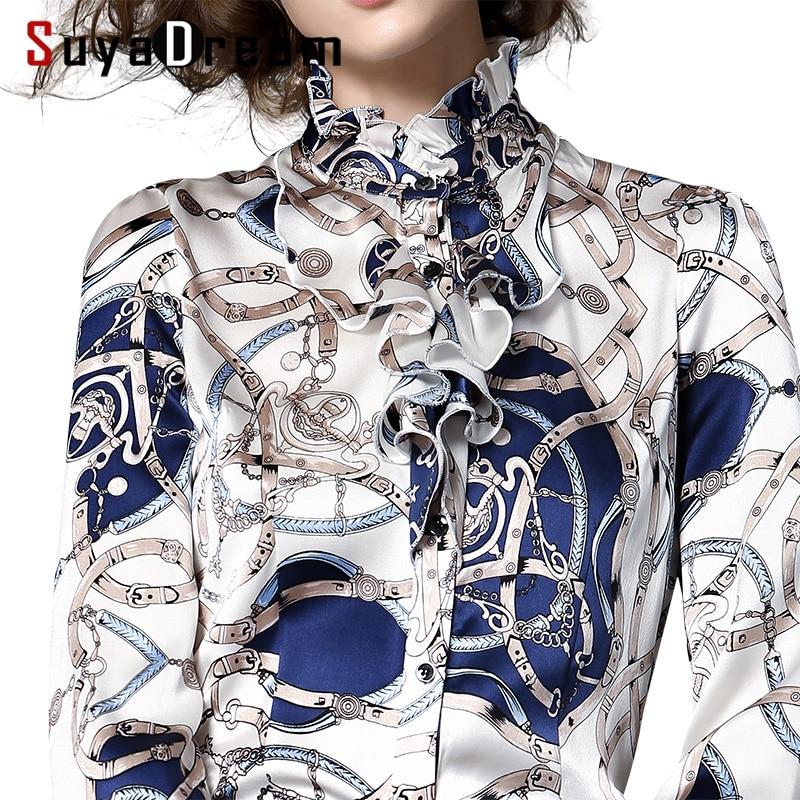 Women SILK SATIN SHIRT 94%Mulberry Silk 6%Spandex Printed Long sleeved Plus size Office Lady Shirt 2017 Fall Winter New Top