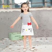 B&N Girl Princess Dress Fashion cartoon Kids Clothes Baby Girls Summer Dresses Hello Kitty sleeveless Children Dresses