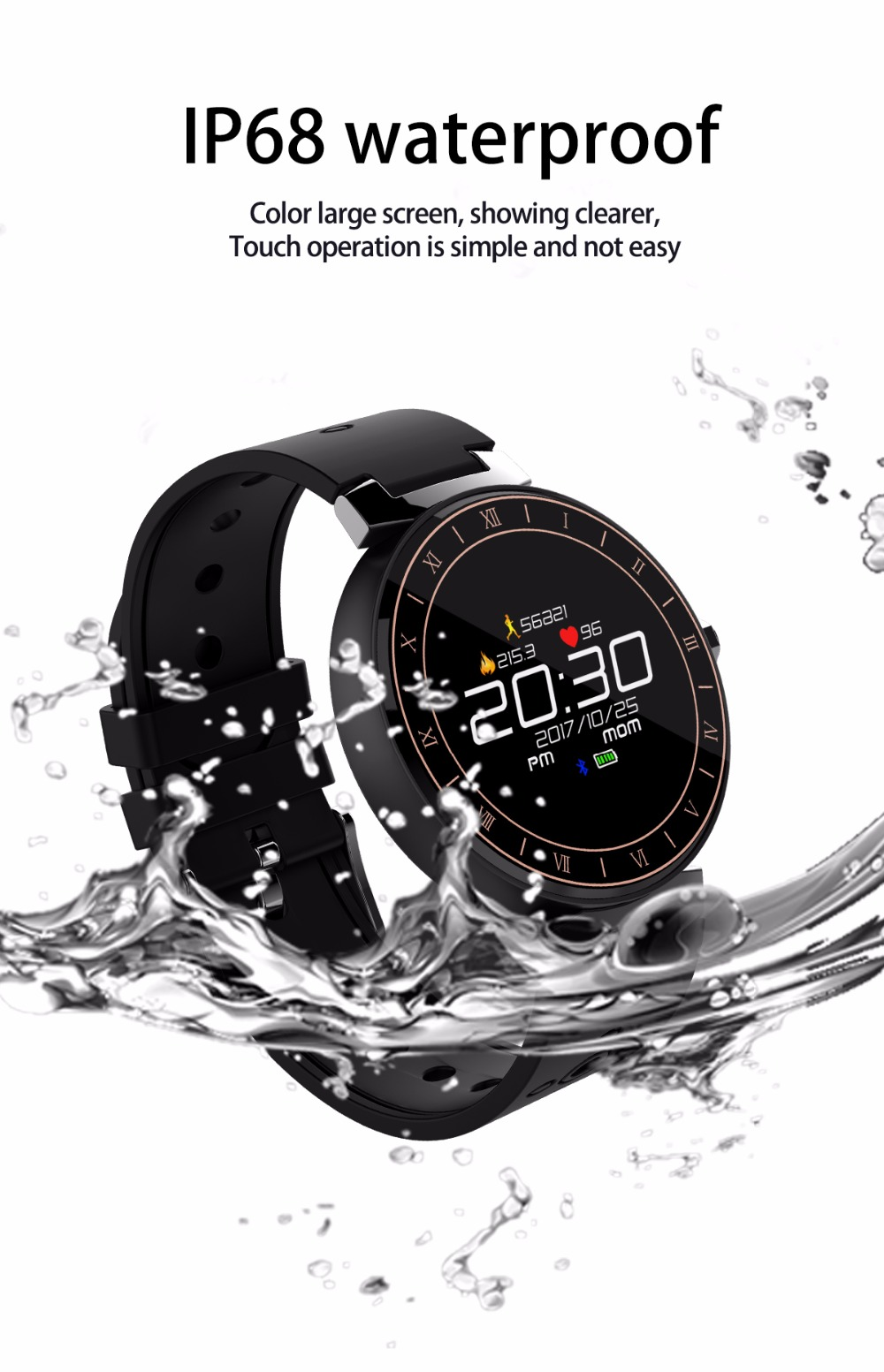 Smart Watch Bracelet Heart Rate Monitor Blood Pressure IP68 Waterproof Fitness Band Bluetooth Sports Wristband for Swimming