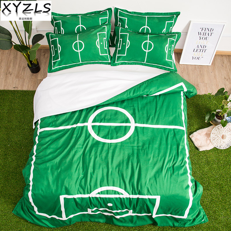 XYZLS Football Field Queen Cotton Bedding Set Pitch Men Bedclothes Sports Twin Full King Adults Green