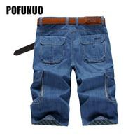 Summer Mens Retro Cargo Denim Shorts Vintage Acid Washed Faded Multi Pockets Military Style Biker Short Jeans For Men Size 30 44