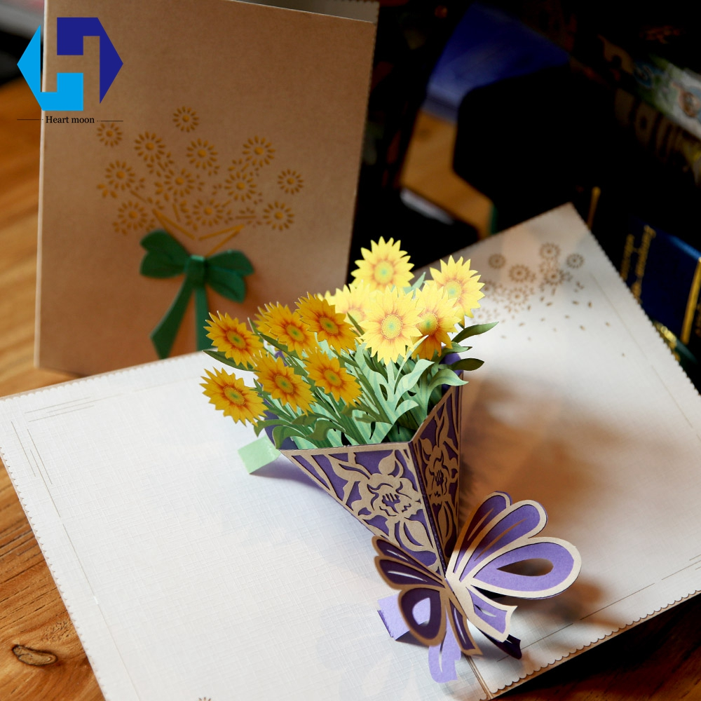 Golden Sun Flower 3D Pop Up Greeting Card with Envelope Thank You Greeting Cards for Mothers Day