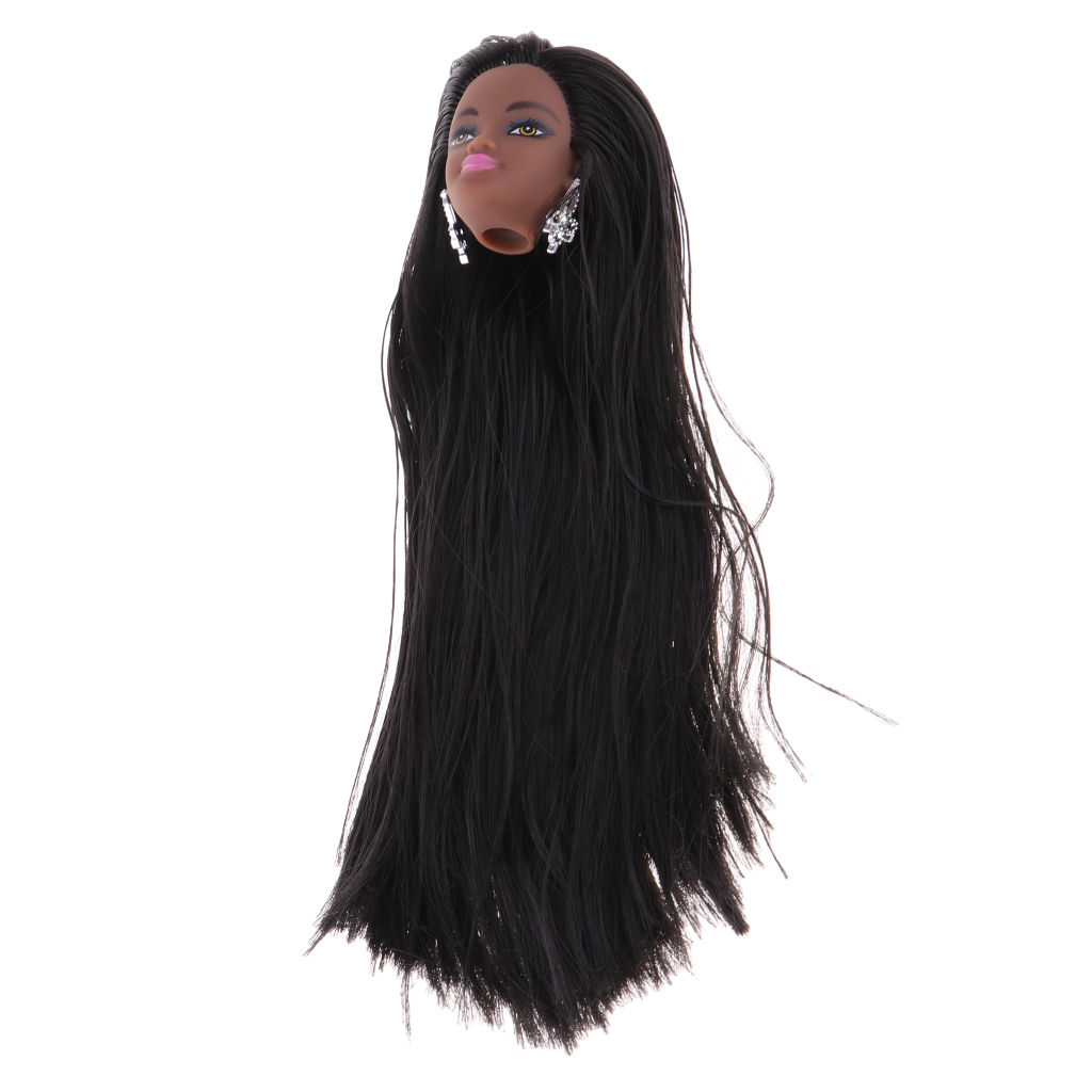 Fashion Africa Black Head With Make Up Vinyl Head Body Parts For DIY Making Accessory, Long Straight Hair