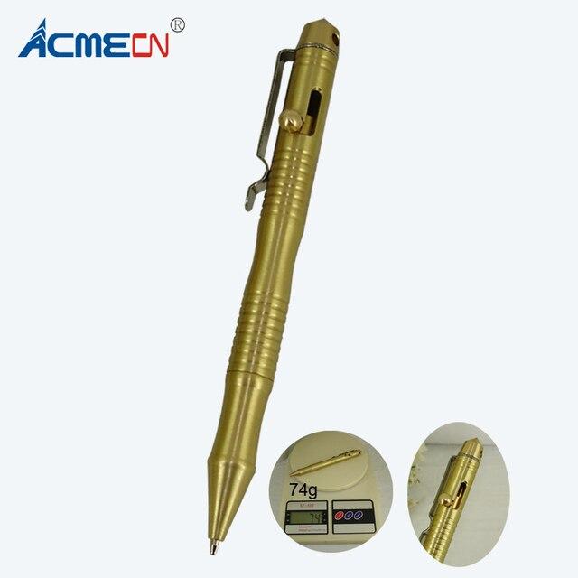ACMECN латунная тактическая ручка 74 г Тяжелая для выживания самозащиты ручка с шариковой ручкой и стеклянным выключателем инструмент для кемп...