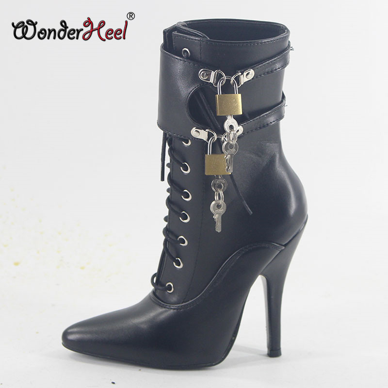 Wonderheel Extreme high heel 12cm 5 stilleto heel matte leather pointed toe boots with two locked