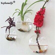 Keythemelife полукруглая стеклянная ваза настенная Висячие емкости для гидропоники Террариум рыбные танки Горшечное растение цветочный горшок Свадебный домашний декор A