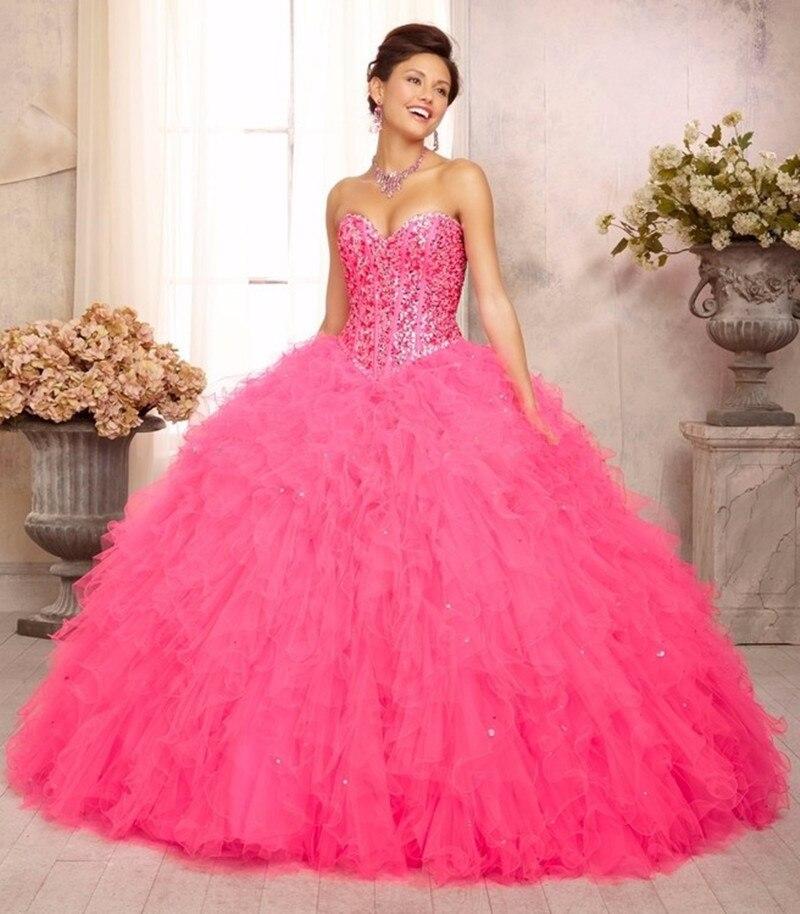 e8a8e7d36 2016 Princesa Rosa Vestido de Bola de 15 Años Debutante Vestido ...