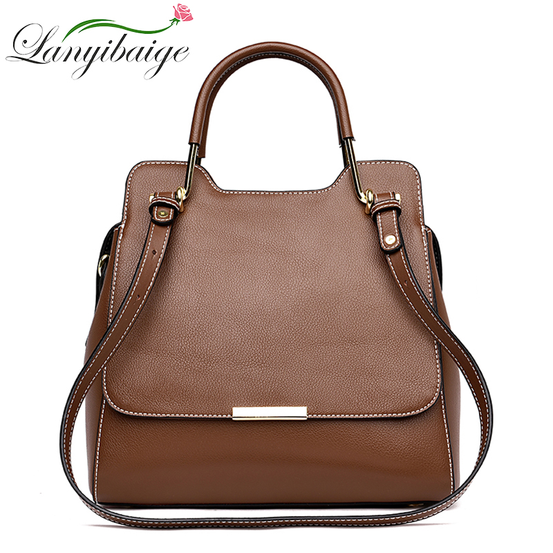LANYIBAIGE Brand Real Leather Women Handbags Ladies Genuine Cow Leather Tote Hand Bags Female Designer Shoulder Messenger Bag oln brand designer women s shoulder bag genuine leather handbags for female real cow women messenger bags ladies tote bags