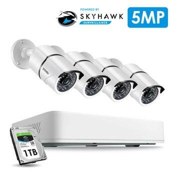 Système de caméra de sécurité ZOSI 4CH H.265 + HD 5.0MP avec caméra de vidéosurveillance extérieure/intérieure HD 4x5 MP avec Kit de Surveillance de disque dur 1 to