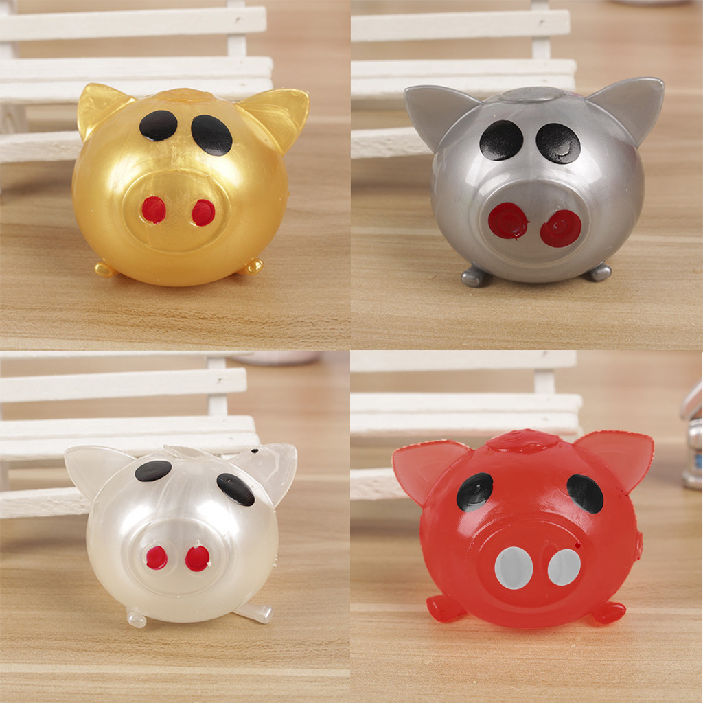 Stress Jello Pig Cute Stress Relief Toy Splat Water Pig Ball Vent Squishy Toys Venting Ball Sticky Smash Water Ball  HOOLER