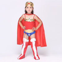 Whole Set Halloween Superhero Wonder Woman Cosplay Costume Girl Kids Princess Diana Dress Suits