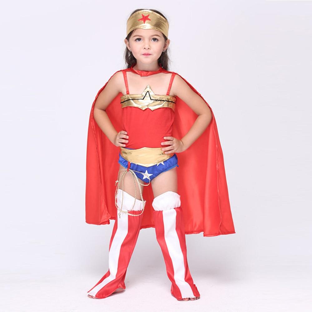 (whole set)Halloween Superhero Wonder Woman cosplay Costume Girl kids Princess Diana dress suits