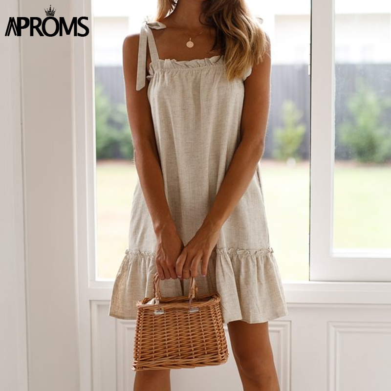 Aproms Elegant Square Collar Bow Tie Linen Mini Dress Women Summer Sexy Frill Loose Dresses Cool Girls Beach Sundress Robe 2019