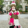 Birthday christmas gift winter girls multi-colored muffler scarf knitted hat scarf gloves three pieces set one piece