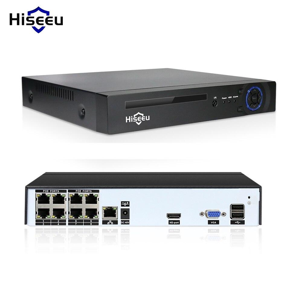 Hiseeu 4/8 канала PoE NVR для 1080 P POE IP Камера системы Камеры Скрытого видеонаблюдения H.265 48 В 802.3af видеонаблюдения NVR ONVIF DVR XMEYE APP