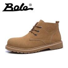 06d44c99 2018 otoño nuevo hombre Martin botas punta redonda con cordones resistente  al aire libre cuero Hombre joven tendencia estilo bot.