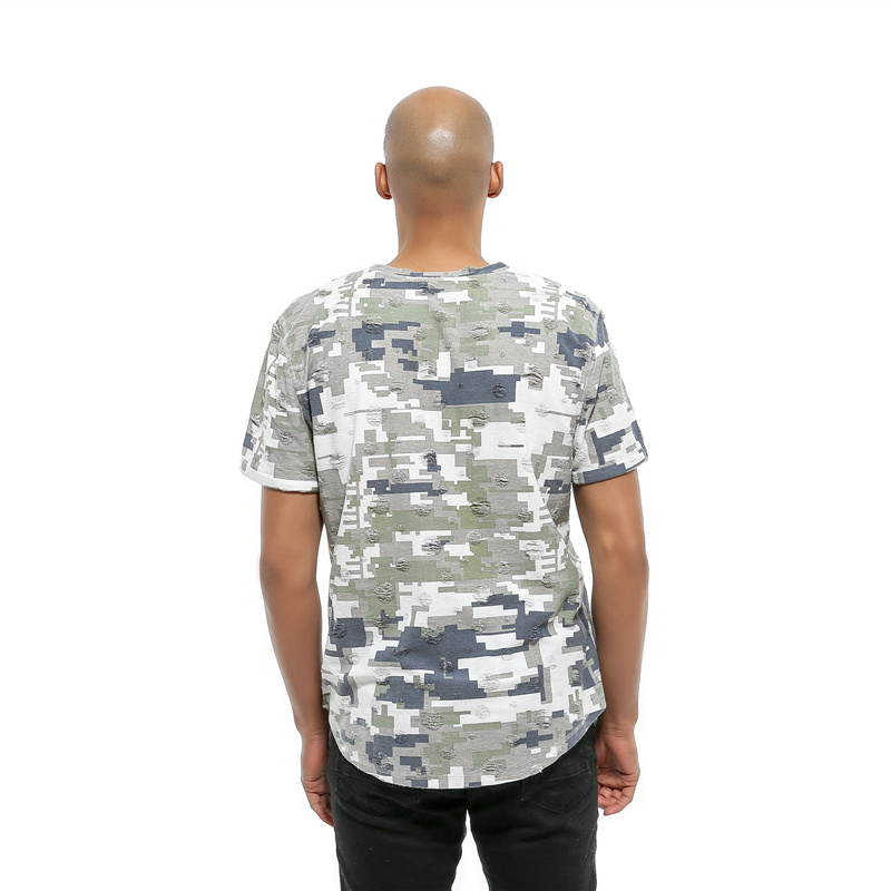 GustOmerD Summer Camouflage Printed T-shirt Brand Clothing Hip Hop Ripped Design O-neck Short Sleeve T Shirt Men Casual Top Tee