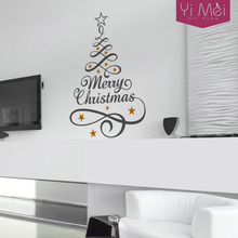 Merry Christmas Tree Star New Year Words Festival Wall Sticker Decal Mural Wallpaper Graphic Window Xmas Home Decoration 58x96cm