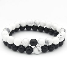 2Pcs/Set Couples Distance Bracelet Hot Classic Natural Stone White and Black Yin Yang Beaded Bracelets for Men Women Best Friend(China)
