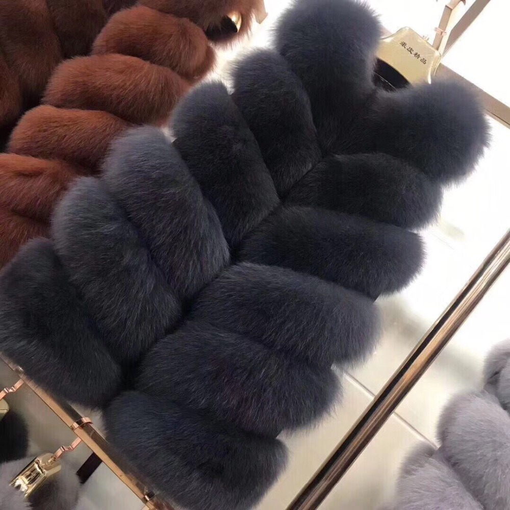 BIGSALE inverno Mulheres Reais Fox Colete De Pele Natural Genuíno Couro de Raposa Gilets das Mulheres de pele Longo Colete de Pele De Raposa Real Completa Pelt Colete